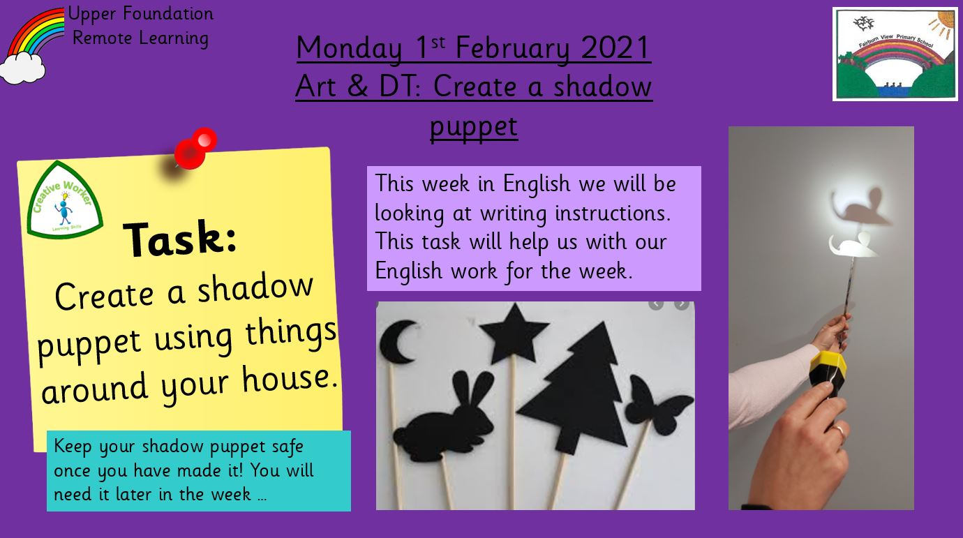 1.2.21 Art & DT: Make a shadow puppet