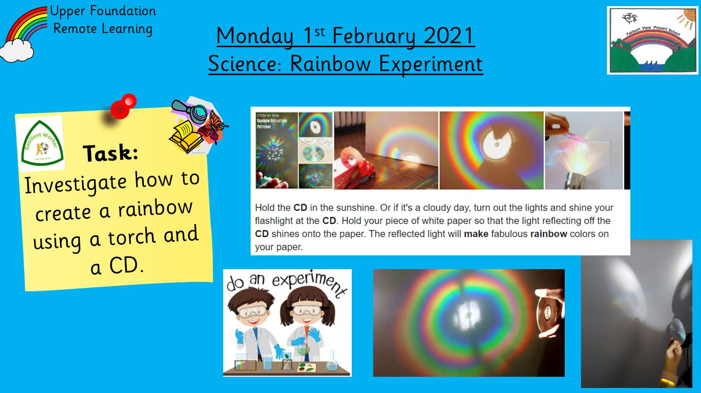 1.2.21 Knowledge & Understanding the World: Science: Rainbow Experiment