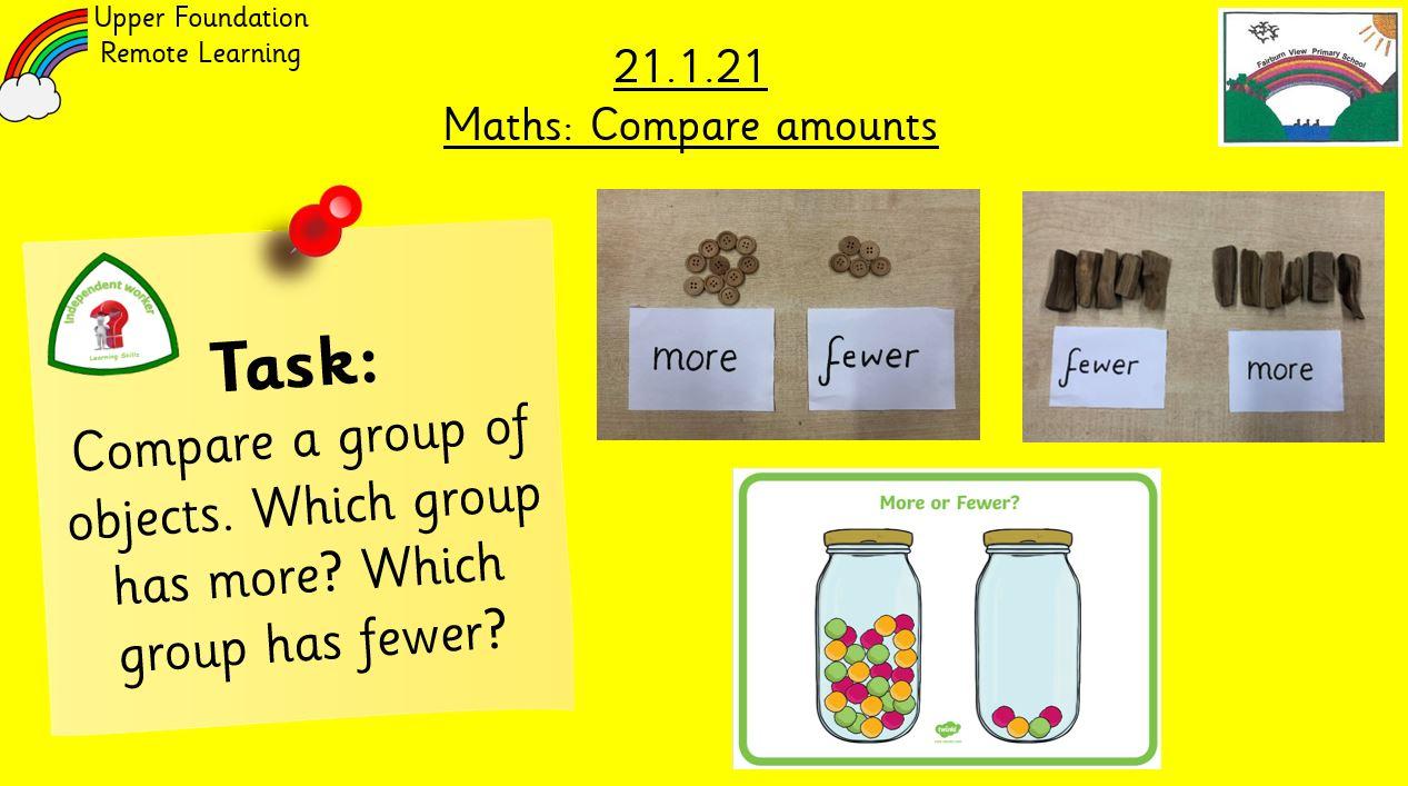 21.1.21 Maths: Compare amounts