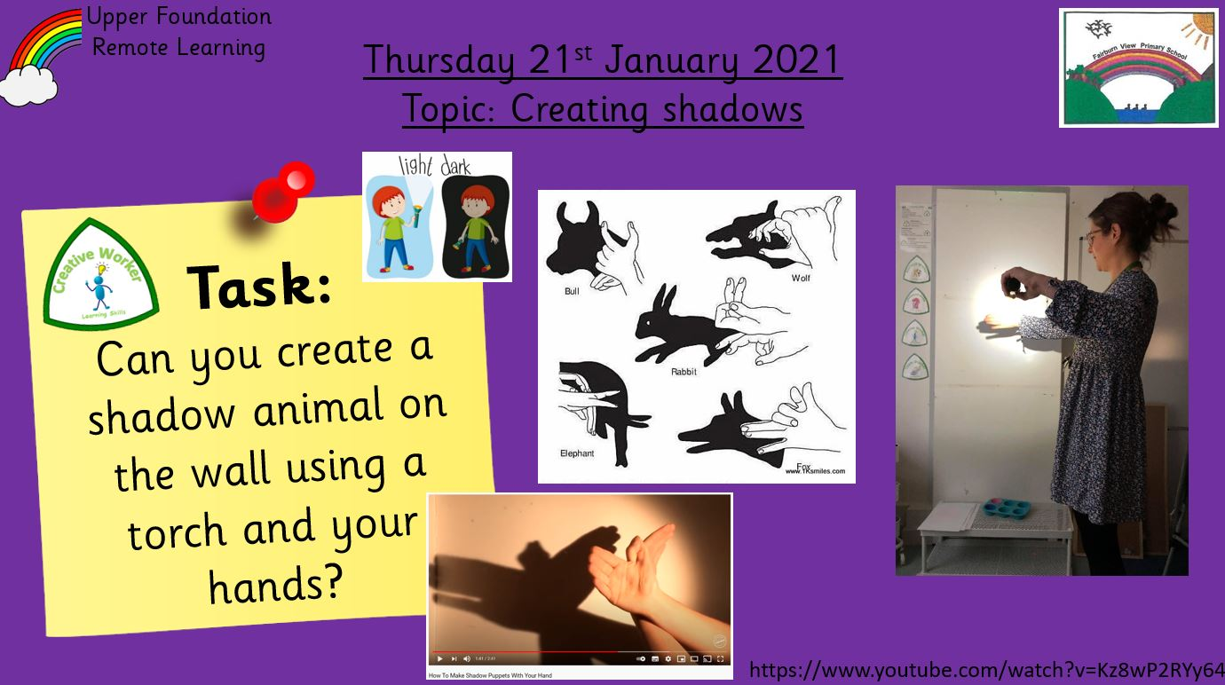 21.1.21 Knowledge & Understanding the World: Topic – Shadows