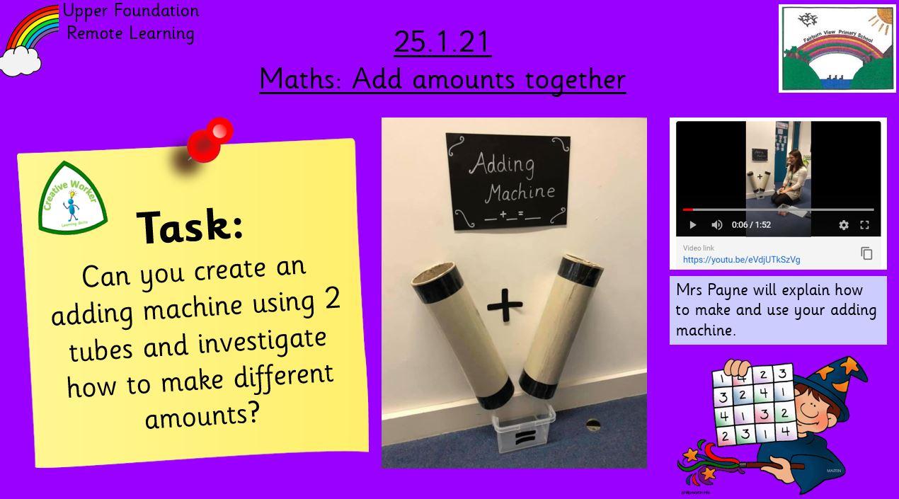25.1.21 Maths: Adding 2 amounts together