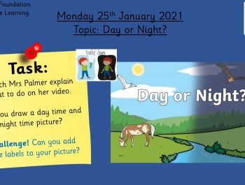 25.1.21 Knowledge & Understanding the World: Topic – Day or Night?