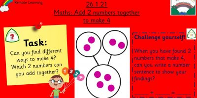 26.1.21 Maths: Adding 2 numbers together to make 4