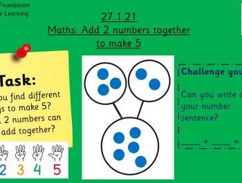 27.1.21 Maths: Adding to 5