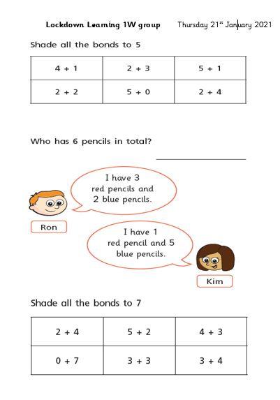 Thursday 21st January Maths 1W group