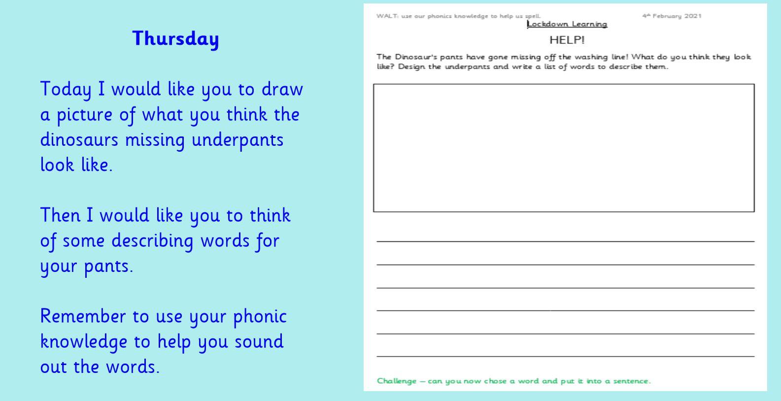 Thursday 4th February 1W Literacy group