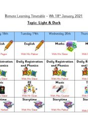 Remote Learning Timetable – Week 2: 18th January