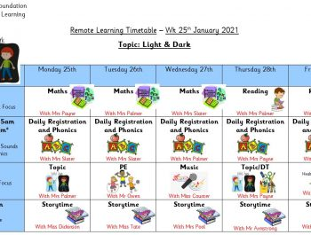 Remote Learning Timetable – Week 25th January 2021
