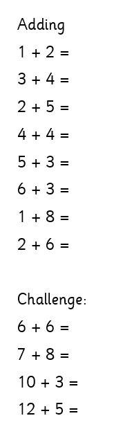 Wednesday 1W maths work (addition)