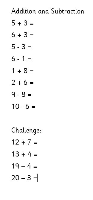 Friday 1W Maths (addition and subtraction)