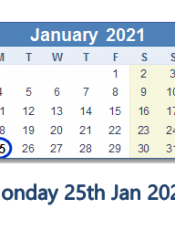 Monday 25th January 2021