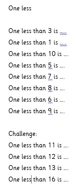 Tuesday Maths- 1W group (one less)