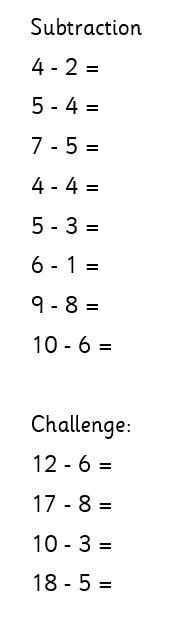 Thursday 1W maths (subtraction)