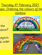 4.2.21 Knowledge & Understanding of the World: Topic – Ordering the colours of the rainbow