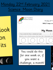 22.2.21 Knowledge & Understanding the World: Science: Moon Diaries