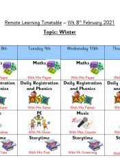 Remote Learning Timetable – Wk 8th Feb