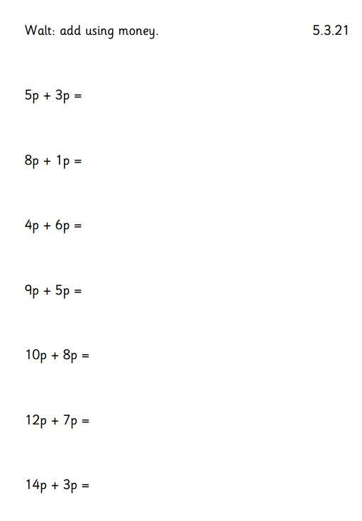 Friday 5th March 1W Maths