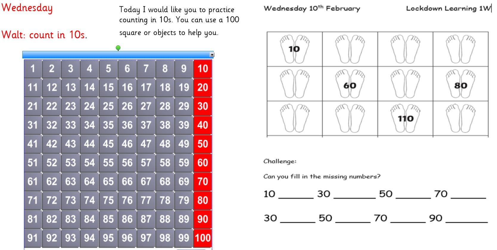 Wednesday 10th February 1W Maths