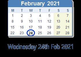 Wednesday 24th February 2021