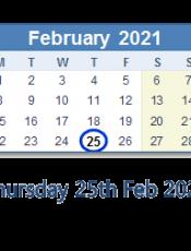 Thursday 25th February 2021