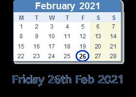Friday 26th February 2021