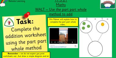 17.3.21 UFS Maths: Add using the part part whole method