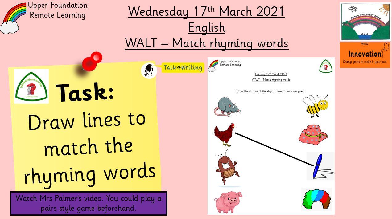 17.3.21 UFS English: Match rhyming words