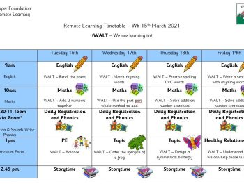 UFS Remote Learning Timetable – Wk 15th March 2021