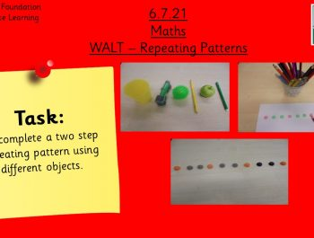 6.7.21 UFS Maths: Complete a two step repeating pattern
