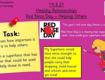 19.3.21 UFS Healthy Relationships – Red Nose Day: Helping Others