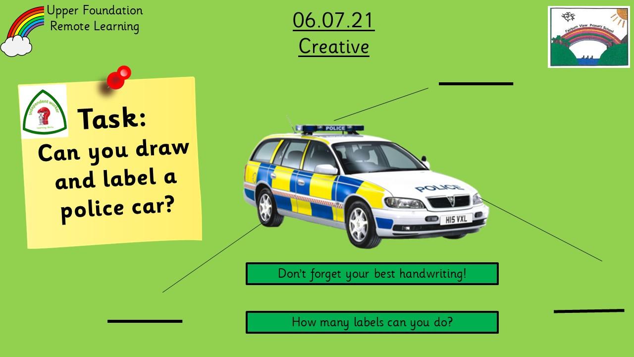 6.7.21 UFS Creative: Labelling a police car