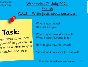 7.7.21 UFS English: Write facts about ourselves.