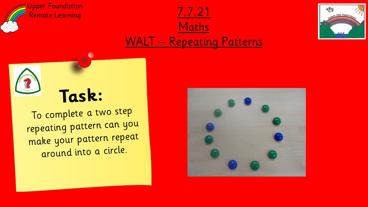 7.7.21 UFS Maths: Complete a two step repeating pattern
